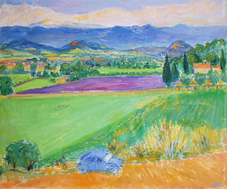Frederick Gore – A farmer visits his field below Bonnieux, 2000