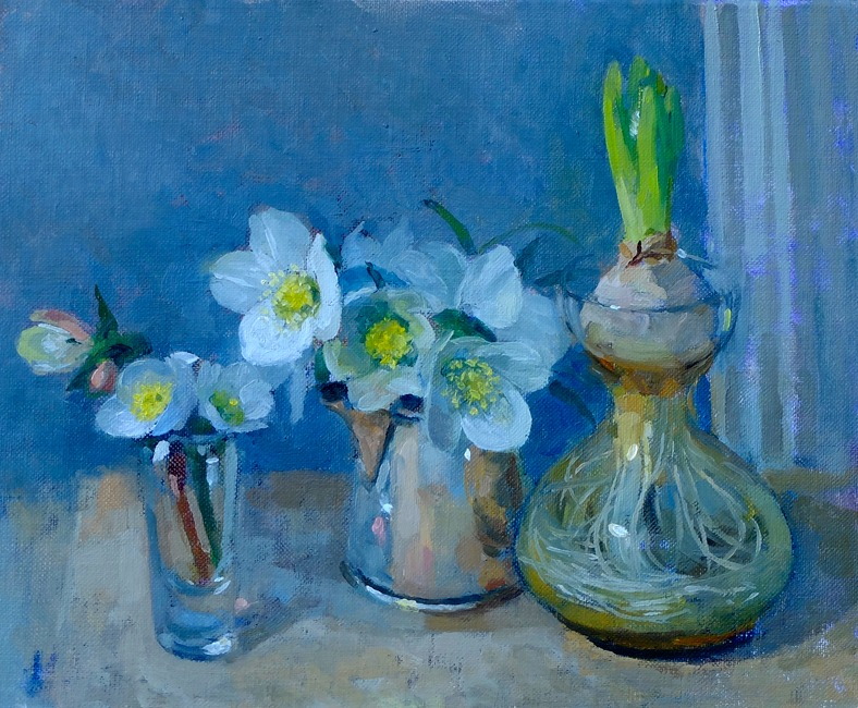 Pamela Kay – Hellebores and a Hyacinth