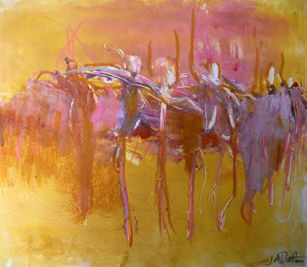 Julie de Bastion – Dancers in Gold Pink and Lilac