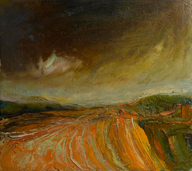 Julie de Bastion – Orange Field, Dark Sienna Sky