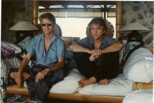 David Bowie and George Underwood, Mustique 1989