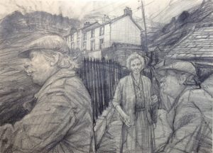 David Carpanini Kyffin Studies .Drawing In Nant Peris . Pencil.
