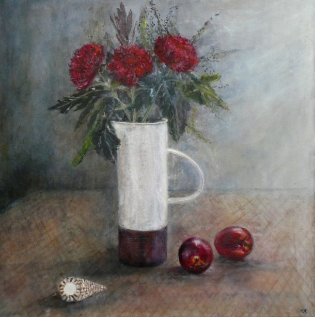 Karen Edwards – Still Life With Red Chrysanthemums
