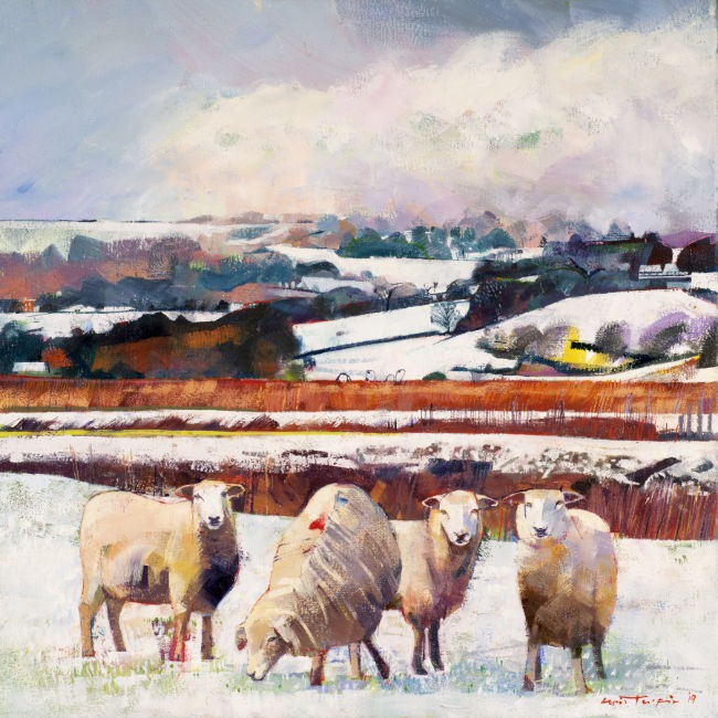 Louis Turpin – Rolling Landscape With Grazing Sheep