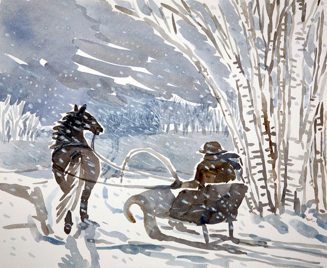 Janet Johnson – Journey Through Woods in Falling Snow