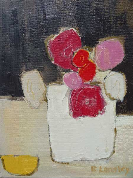 Bridget Lansley - Flowers in Stone Pot - Oil on Canvas - 10 x 8 inches