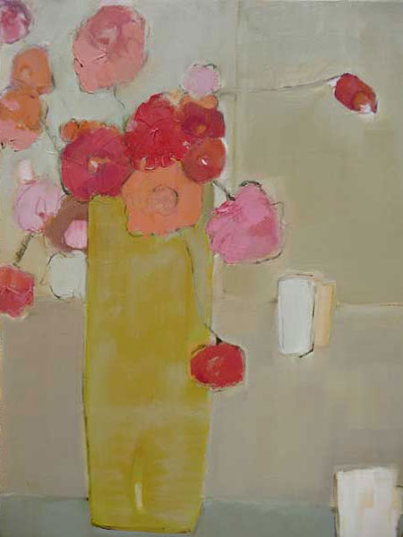 Bridget Lansley - Tall Yellow Vase - Oil on Canvas - 24 x 20 inches