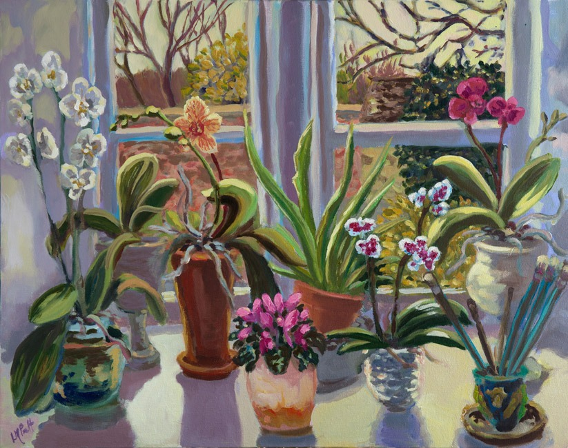 Lucy Pratt - Kitchen Orchids - Oil on Canvas - 24 x 30 inches