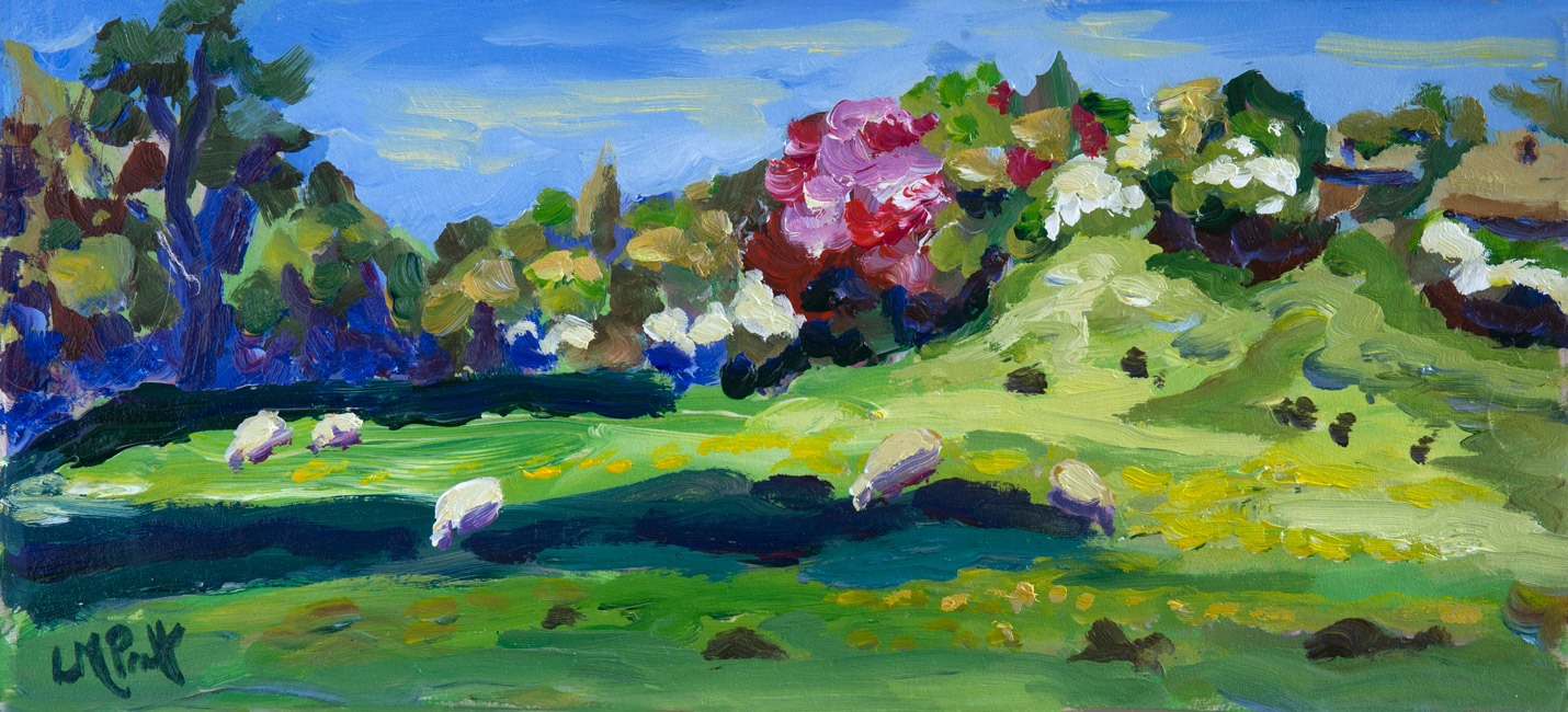 Lucy Pratt - Sheep and Hawthorn - Oil on Board - 7 x 16 inches
