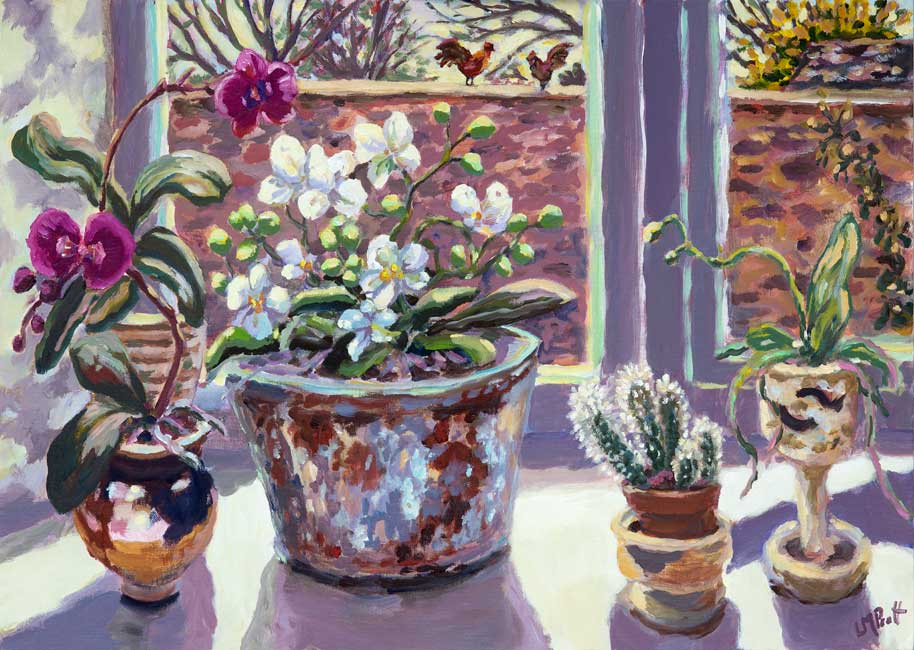 Lucy Pratt - Orchids & Cactuses - Oil on Canvas - 20 x 28 inches