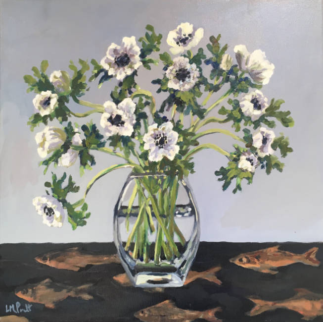 Lucy Pratt - Anemones on Fish Cupboard - Oil on Canvas - 20 x 20 inches