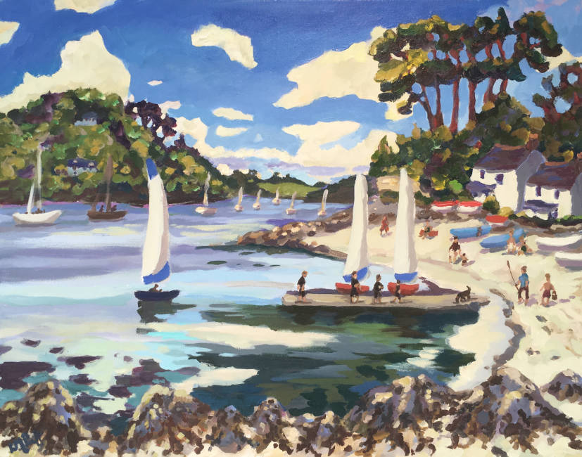 Lucy Pratt - 3 White Sails, Hereford - Oil on Canvas - 24 x 30 inches