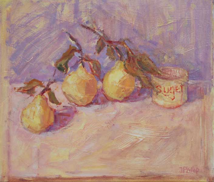 Jackie Philip - Making Quince jelly - Oil on Canvas - 16 x 18 inches
