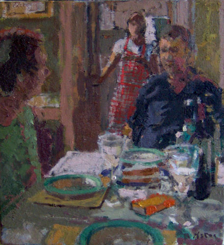 Anthony Yates - Little Dinner Party - Oil on Canvas - 15 x 14 inches