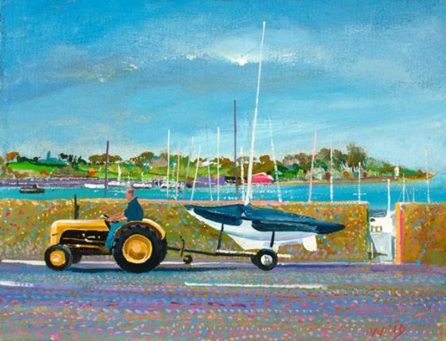 Alex Williams - Tractor On The Strand - Oil on Canvas - 12 x 9 inches