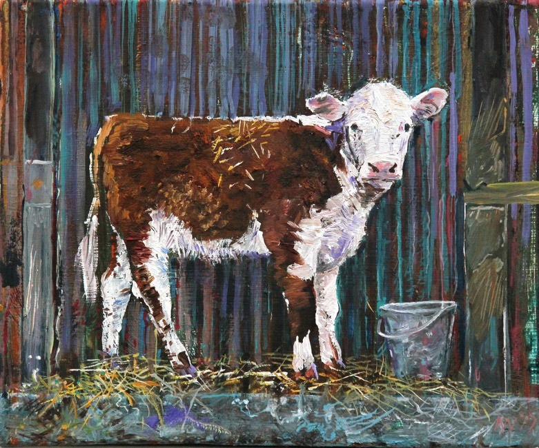 Alex Williams - Calf with Bucket - Oil - 9 x 11 inches