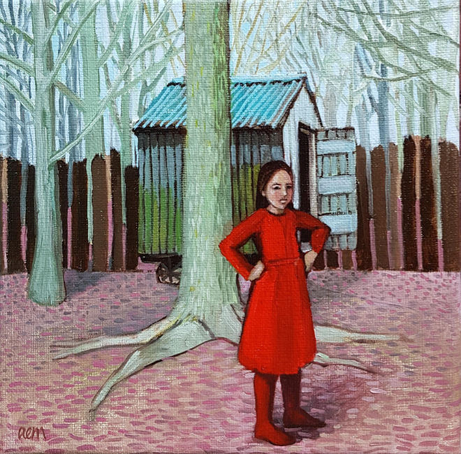 Ann McCay - Girl by her Cabin - Oil on Linen - 8 x 8 inches