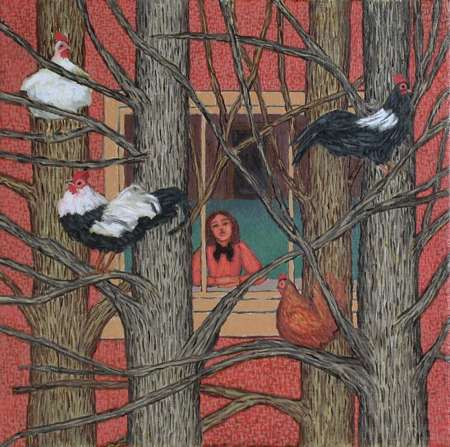 Ann McCay - Looking for Ideas - Oil on Canvas - 8 x 8 inches