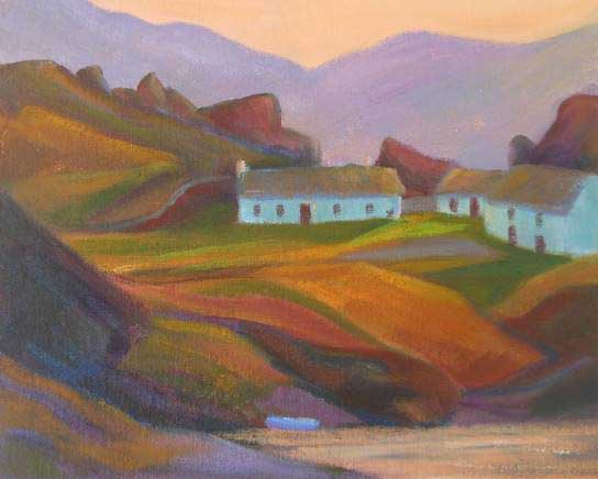 Annabel Carey - Afterglow, Inishowen - Oil on Board - 8 x 10 inches