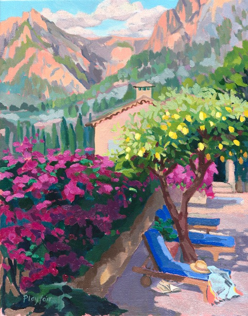 Annabel Playfair - Evening light with Bourgonvillia, Mallorca - Oil on Canvas - 16 x 20 inches