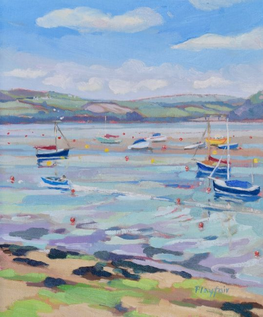 Annabel Playfair - Boats across from Rock, Cornwall - Oil on Canvas - 12 x 10 inches