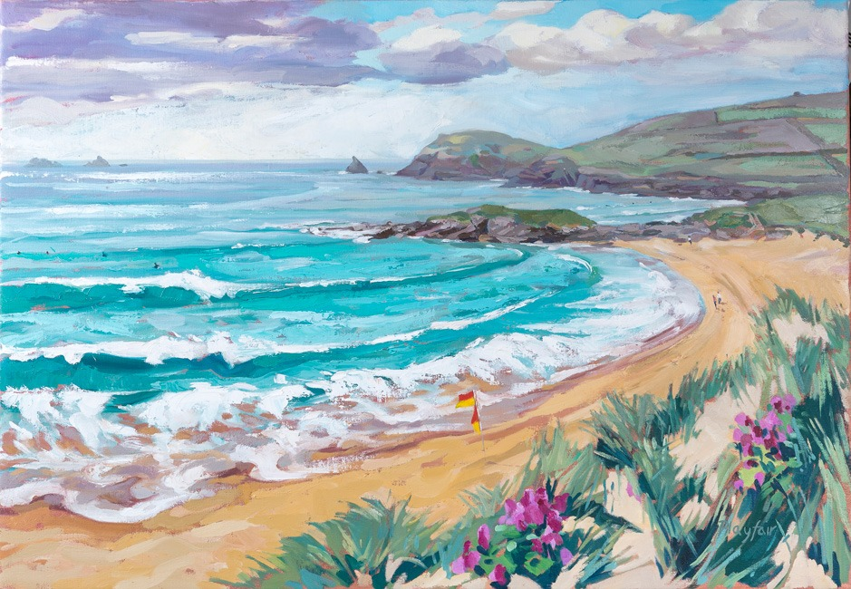 Annabel Playfair - Incoming tide at Constantine Bay, Cornwall - Oil on Canvas - 28 x 40 inches