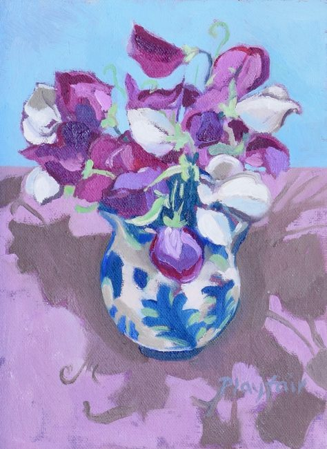Annabel Playfair - Grandpa's Sweet Peas - Oil on Canvas - 8 x 6 inches