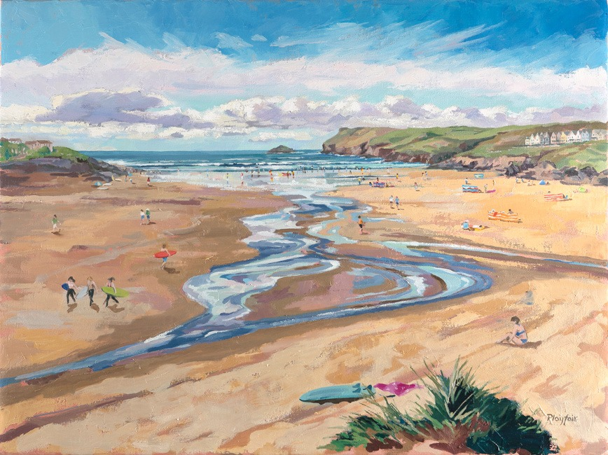 Annabel Playfair - Surfing at Polzeath - Oil on Canvas - 30 x 40 inches