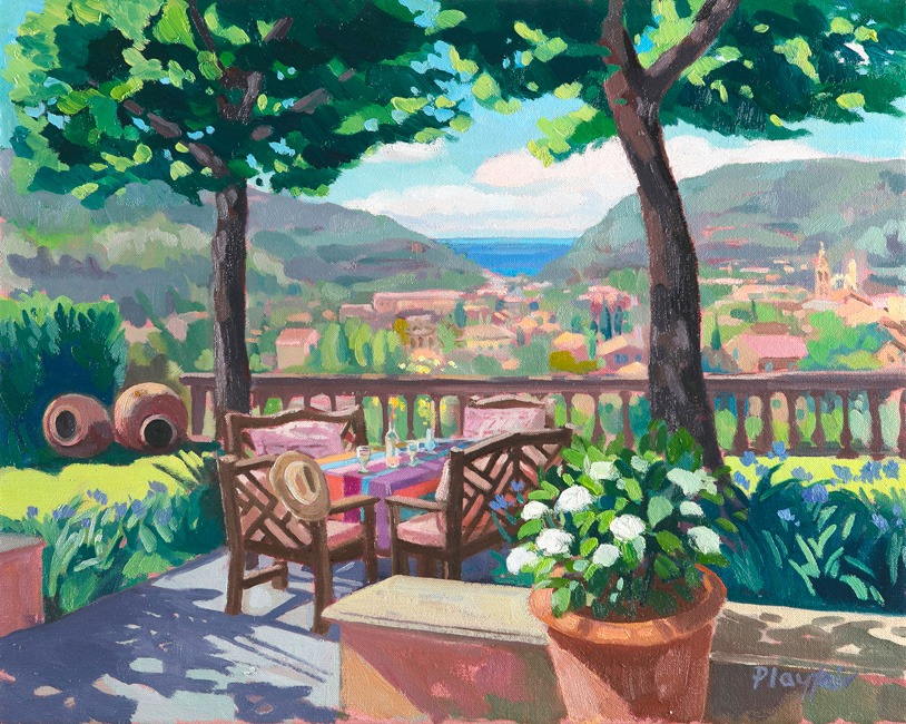 Annabel Playfair - The Terrace, Soller, Mallorca - Oil on Canvas - 16 x 20 inches