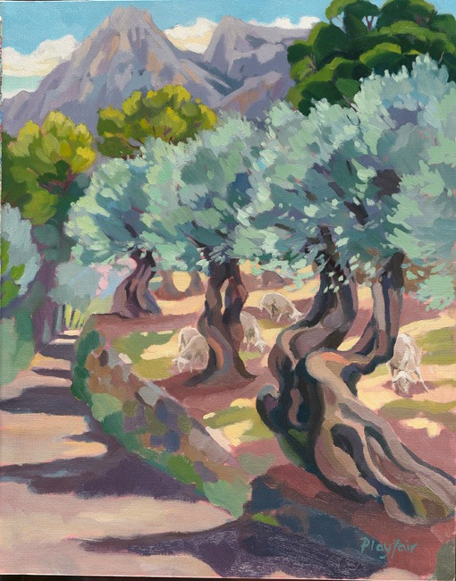 Annabel Playfair - Olive Trees Below the Serra de Tramunta, Mallorca - Oil on Canvas - 16 x 20 inches