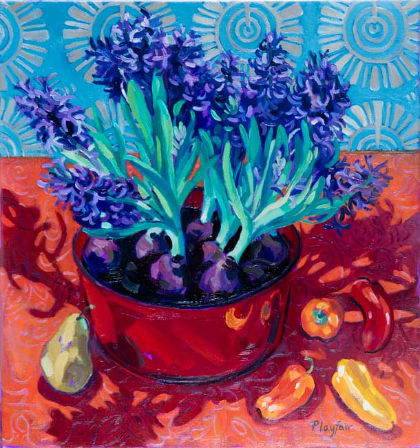 Annabel Playfair - Hyacinths in red bowl - Oil on Canvas - 24 x 26 inches