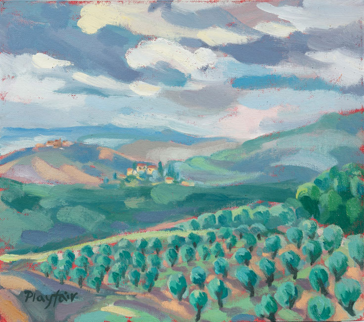 Annabel Playfair - View from Campriano in Tuscany - Oil on Canvas - 10 x 12 inches