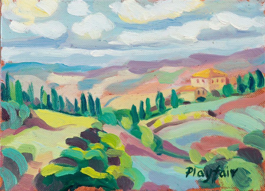 Annabel Playfair - View from Campriano, Tuscany - Oil on Canvas - 6 x 8 inches