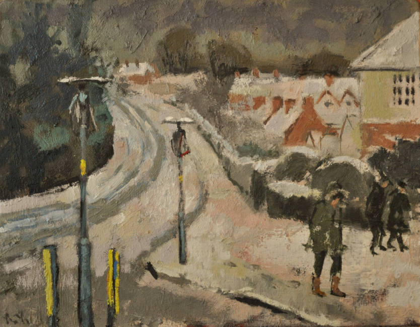 Anthony Yates - Snow on Ravenhurst Road - Oil on Canvas - 14 x 18 inches