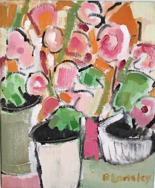 Bridget Lansley - Geranium in Pots - Oil on Canvas - 12 x 10 inches