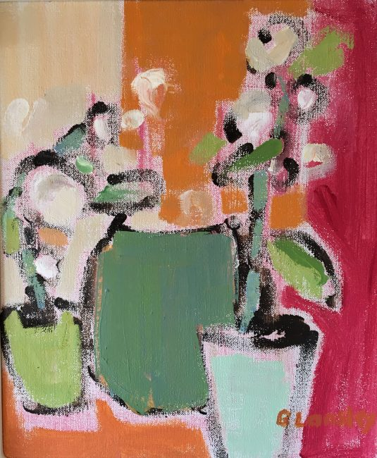 Bridget Lansley - Orchid Pots - Oil on Canvas - 12 x 10 inches