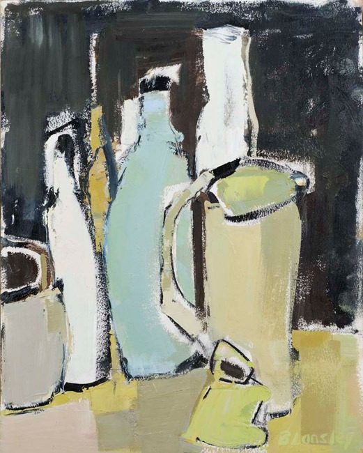 Bridget Lansley - Jugs half full - Oil - 15 x 12 inches