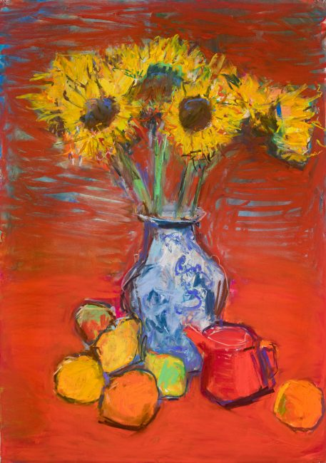 Christopher Johnson - Sunflowers with red teapot - Mixed Media on Paper - 39 x 28 inches