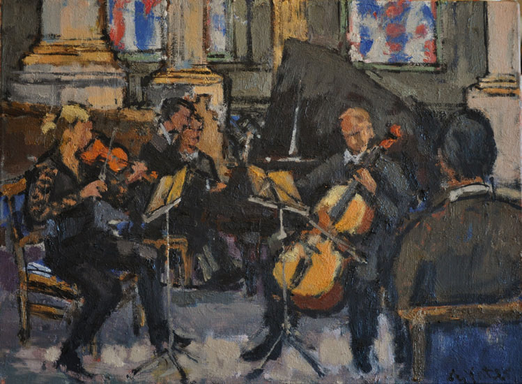 Anthony Yates - Lunchtime concert, St Philips Cathedral - Oil on Canvas - 14 x 19 inches