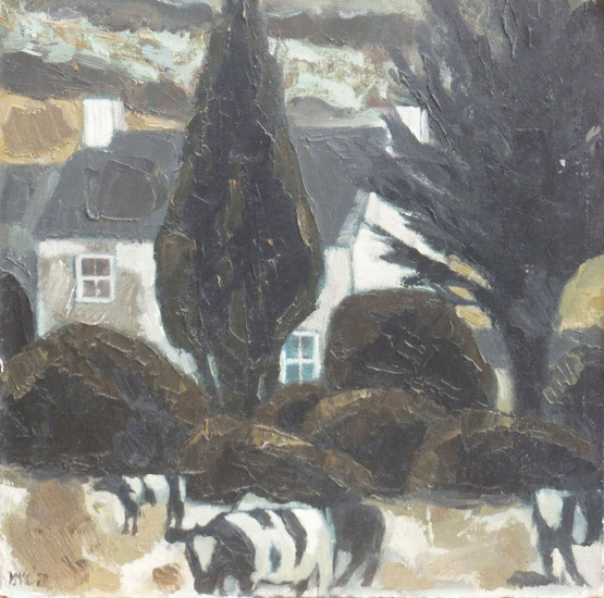 Ursula McCannell - Cows by the Farmhouse 1977 - Oil and Linen - 16 x 16 inches