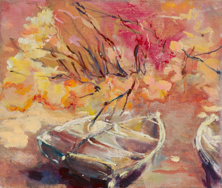 June Redfern - Maples,Acers and Boats - Oil on Linen - 10 x 12