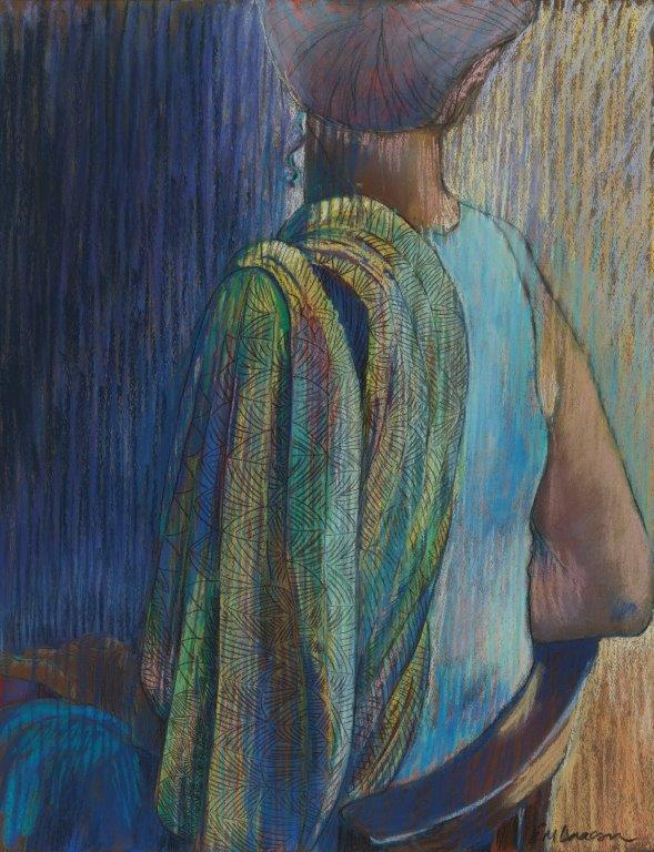 Em Isaacson - The Patterned Shawl - Pastel - 25.5 x 20 inches