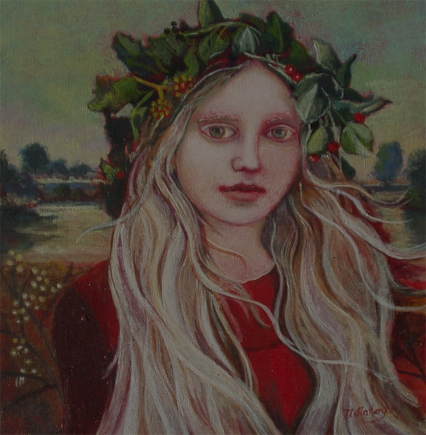 Nicola Slattery - Evergreen - Acrylic on Wood - 8 x 8 inches