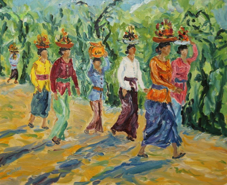 Fi Katzler - Bali Temple Offerings - Oil on Canvas - 20 x 24 inches