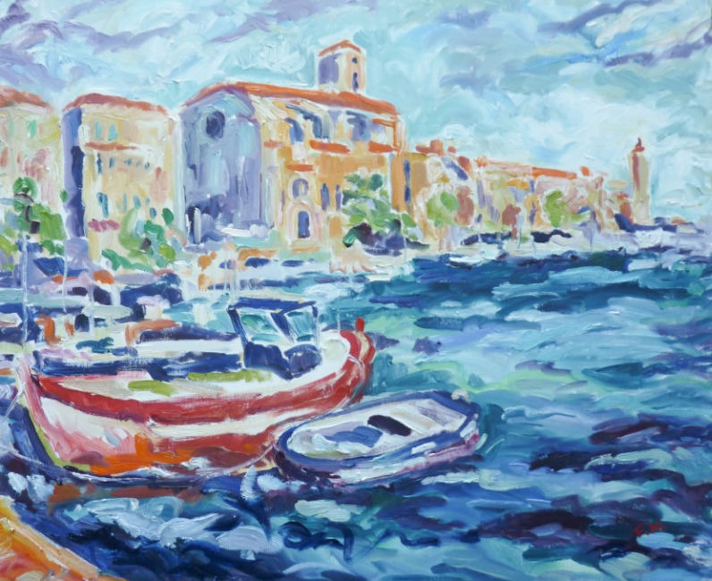 Fi Katzler - Boats at La Ciotat - Oil on Canvas - 24 x 29 inches