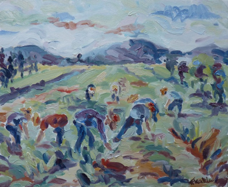 Fi Katzler - Harvesting Garlic - Oil on Canvas - 15 x 18 inches