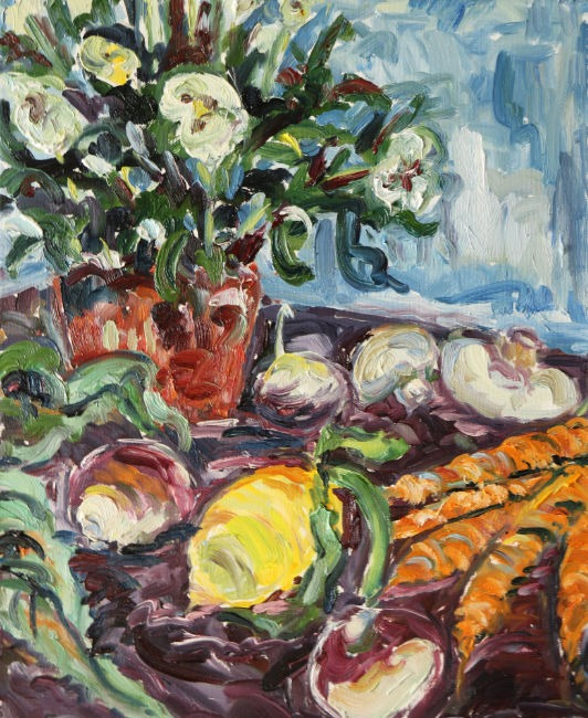 Fi Katzler - Hellebore and Legumes - Oil on Canvas - 18 x 15 inches