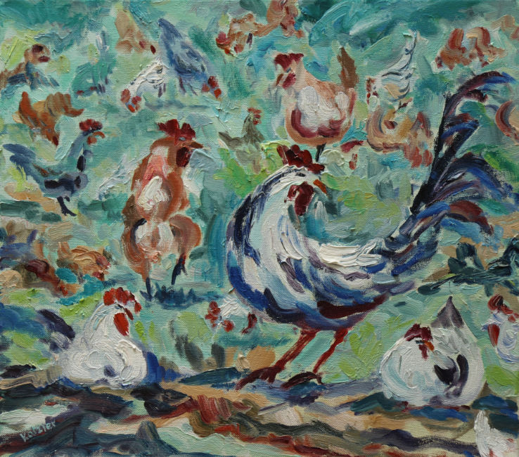 Fi Katzler - Hens Galore - Oil on Canvas - 16 x 18 inches