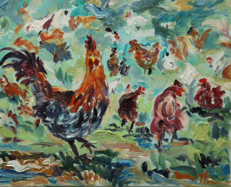 Fi Katzler - Hens About - Oil on Canvas - 13 x 16 inches