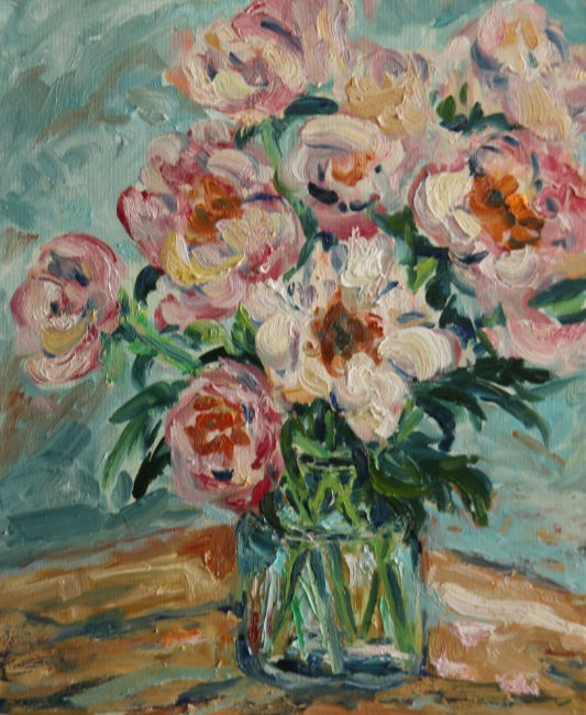 Fi Katzler - Peonies - Oil on Canvas - 18 x 15 inches